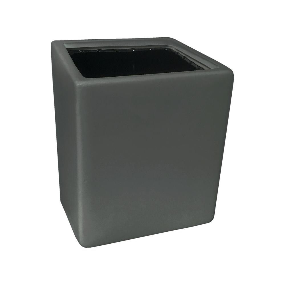 Cube 3 1/2 in. x 4 in. Dark Grey Ceramic Wall
