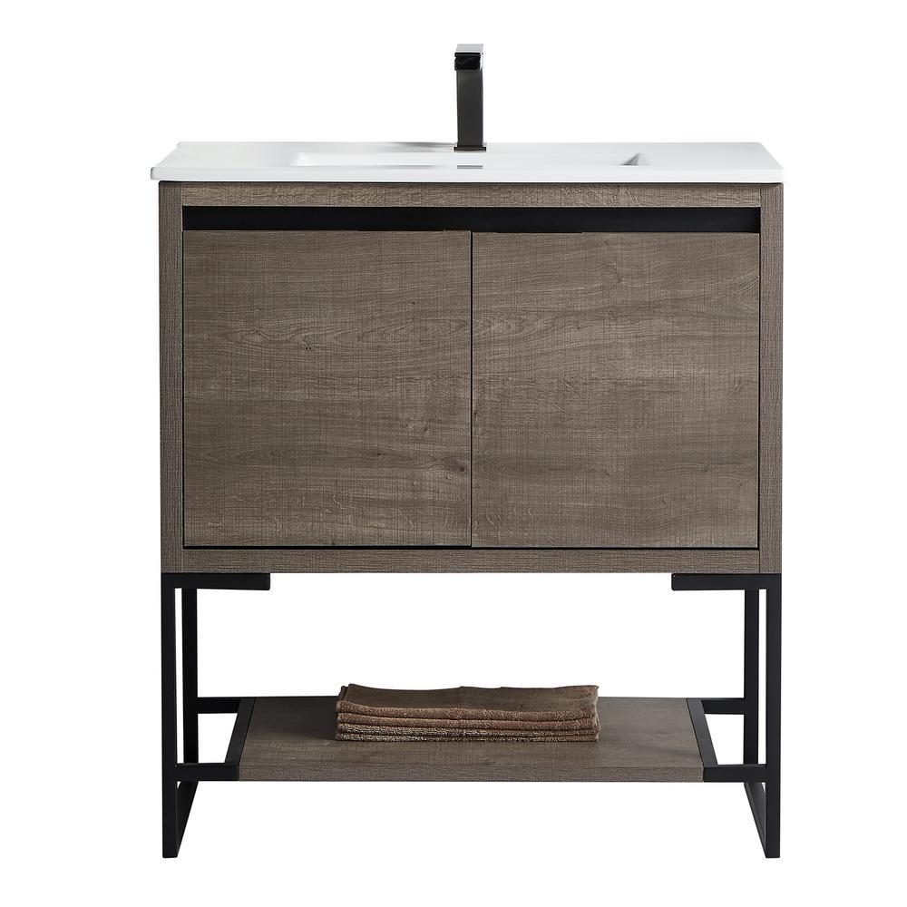 Zurich Collection 30 in. Single Bathroom 35 in. Wood and Ceramics Vanity Backsplash Plaid Grey Oak
