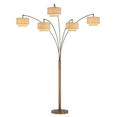 Evita 81 in. LED Antique Bronze Tree Arched Floor Lamp with Dimmer