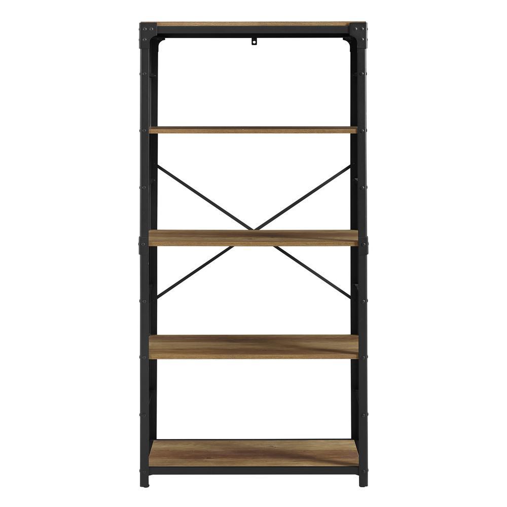 64 in. Rustic Barnwood Rustic Urban Industrial 4-Shelf Angle Iron Wood and Metal Bookshelf