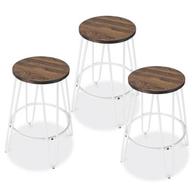 Kasey Walnut and White Counter Stool (Set of 3)