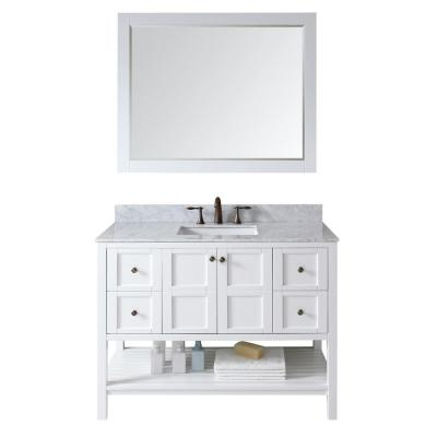 Virtu USA Winterfell 49 in. W Bath Vanity in White with Marble Vanity Top in White with Square Basin and Mirror