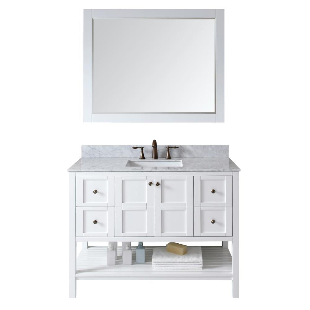 Virtu USA Winterfell 48 in. W x 22 in. D x 35.24 in. H White Vanity With Marble Vanity Top With White Square Basin and Mirror