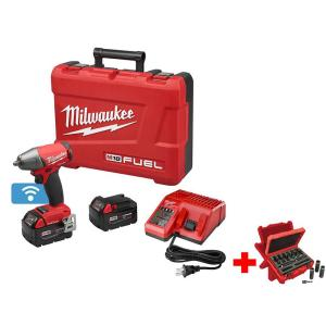 Milwaukee M18 FUEL ONE-KEY 18-Volt Lithium-Ion Brushless Cordless 1/2 inch Impact Wrench Pin Detent Kitwith Socket Set... by Milwaukee