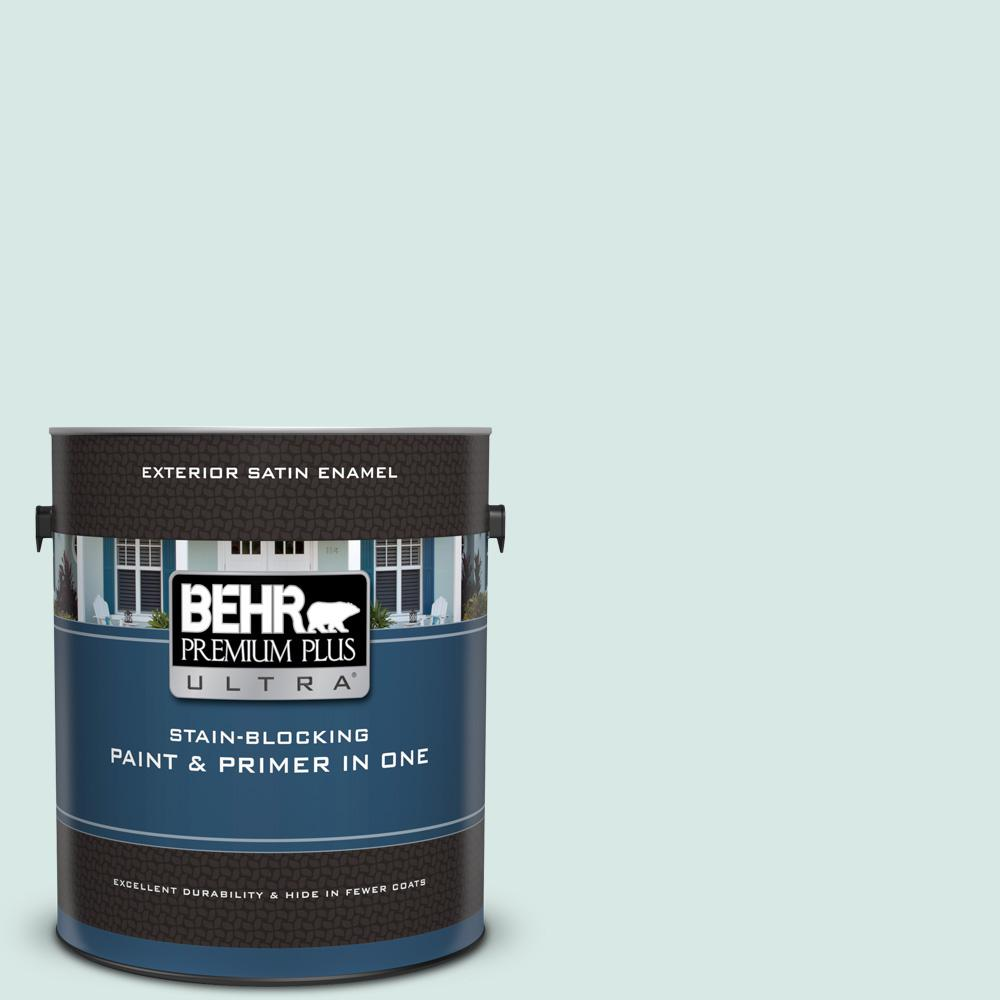 1 gal. #500E-2 Aqua Breeze Satin Enamel Exterior Paint and Primer