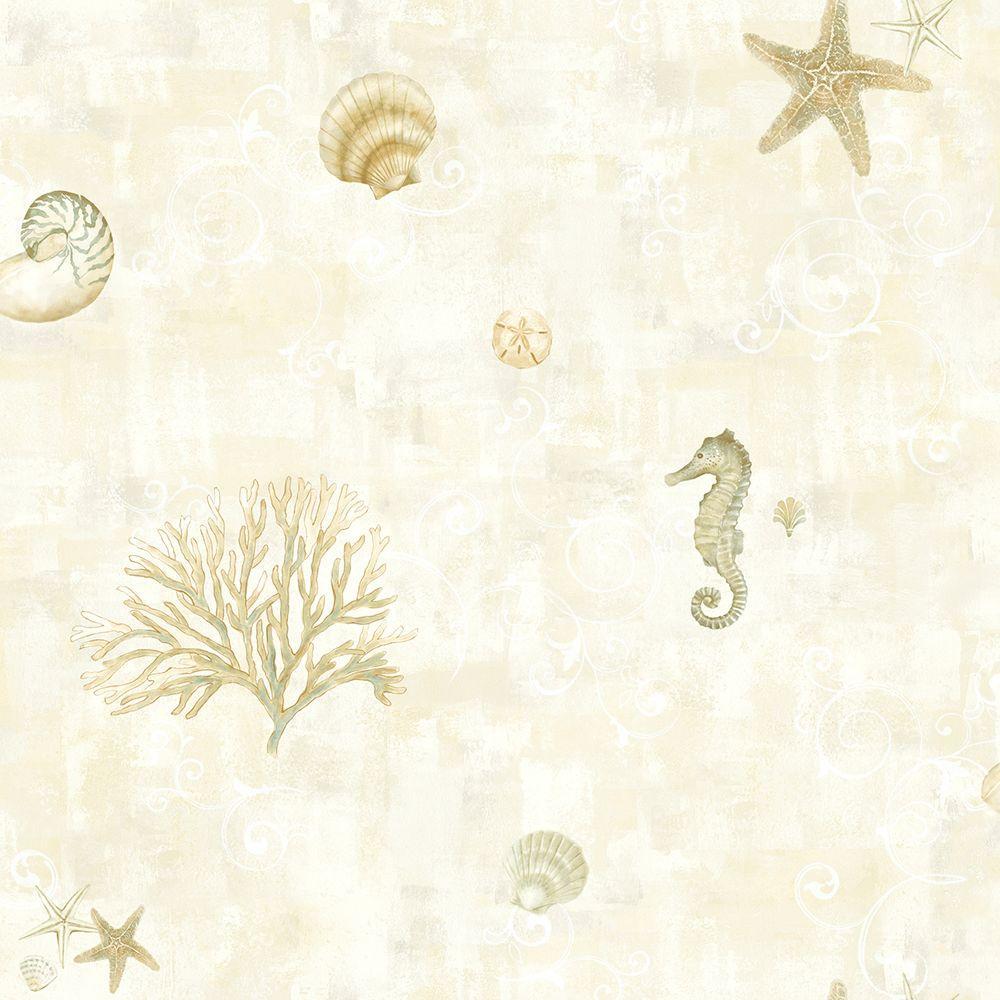 Boca Raton Beige Seashells Wallpaper