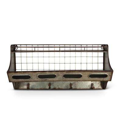 24 in. x 12 in. Galvanized Metal Wall Shelf with Hooks