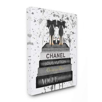 """24 in. x 30 in. """"Glam Fashion Book Stack Grey Bow Pump Heels Ink"""" by Amanda Greenwood Printed Canvas Wall Art"""