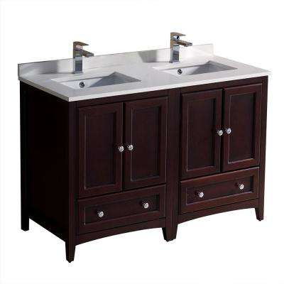 Oxford 48 in. Double Vanity in Mahogany with Quartz Stone Vanity Top in White with White Basins