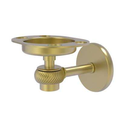 Satellite Orbit One Tumbler and Toothbrush Holder with Twisted Accents in Satin Brass