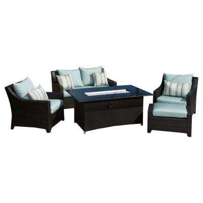 Deco 5-Piece Love and Club Patio Fire Pit Seating Set with Bliss Blue Cushions