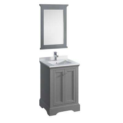 Windsor 24 in. W Traditional Bathroom Vanity in Gray Textured Quartz Stone Vanity Top in White with White Basin, Mirror