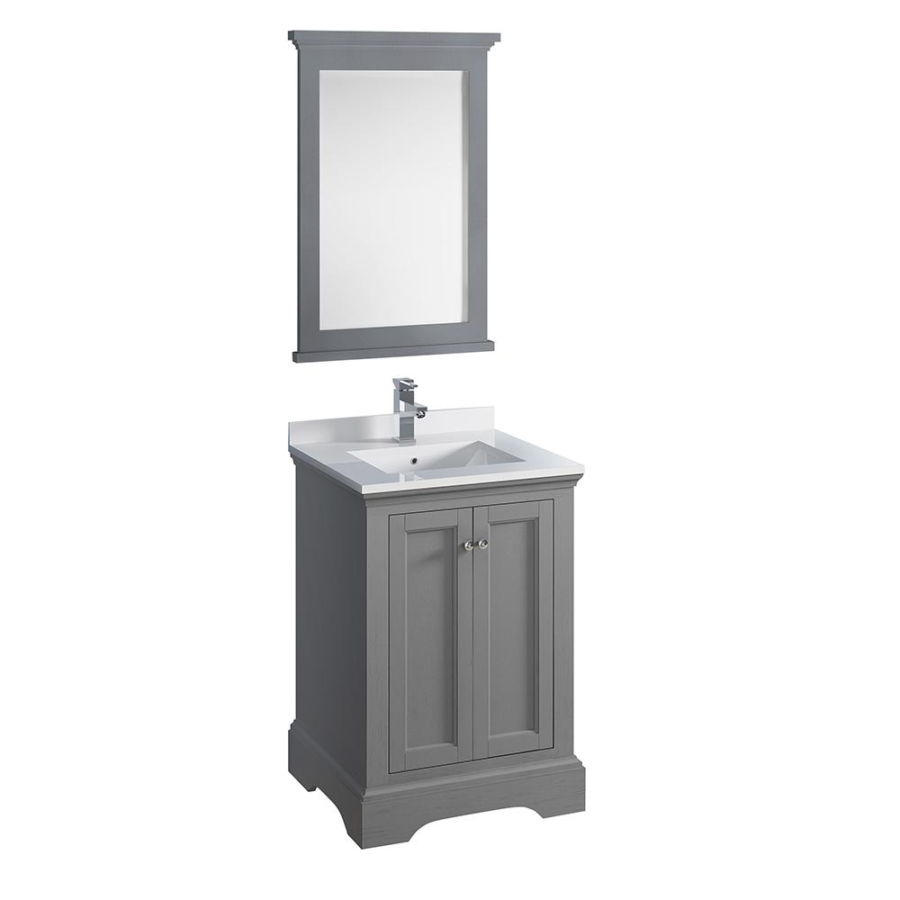 Windsor 24 in. W Traditional Bathroom Vanity in Gray Textured Quartz