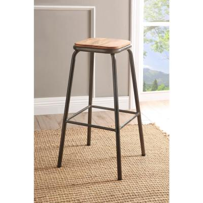 Scarus 30 in. Natural and Gunmetal Bar Stool