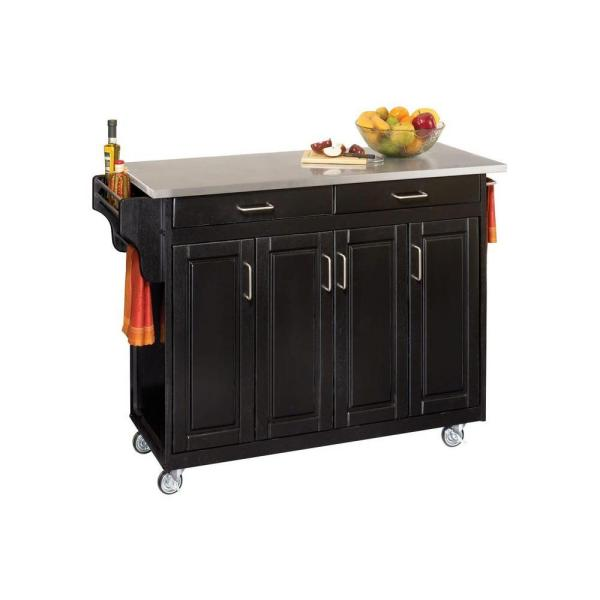 Home Styles Create-a-Cart Black Kitchen Cart With Stainless Top 9200-1042