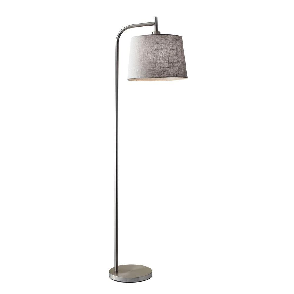 Silver floor lamps lamps the home depot brushed steel metal floor lamp aloadofball Image collections