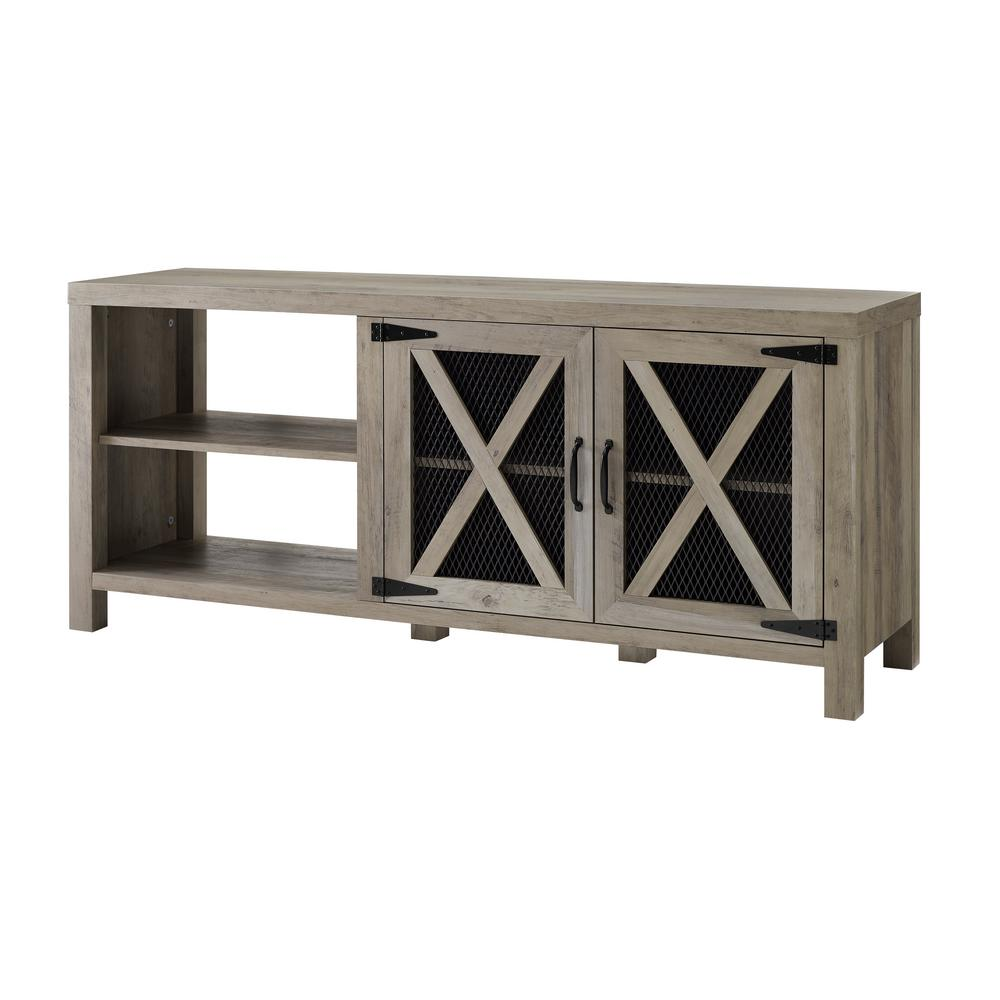 58 in. Gray Wash Composite TV Stand 64 in. with Doors