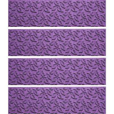 Purple 8.5 in. x 30 in. Dogwood Leaf Stair Tread Cover (Set of 4)