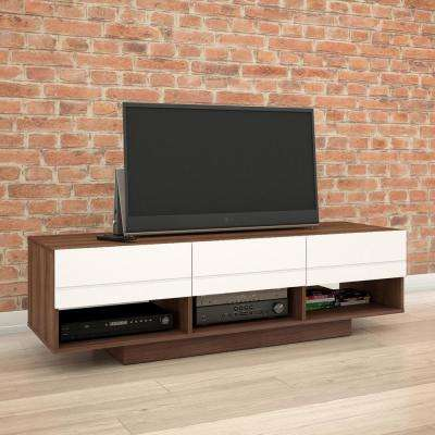 Sequence Walnut and White Entertainment Center