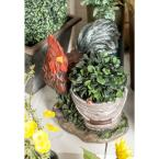 Multi Polystone Rooster-Inspired Planter