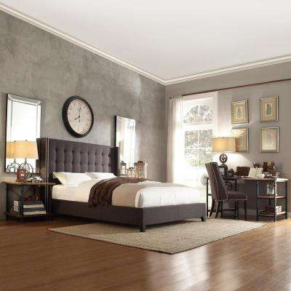 Franklin Park Dark Grey King Upholstered Bed