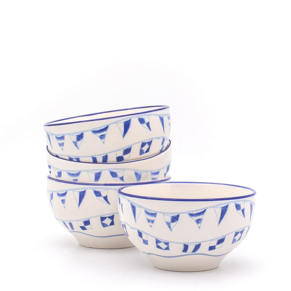 Euro Ceramica Ahoy 4-Piece Cereal Bowl Set AHO-86727B