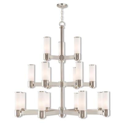 Weston 17-Light Polished Nickel Foyer Chandelier with Hand Blown Satin Opal White Glass Shade