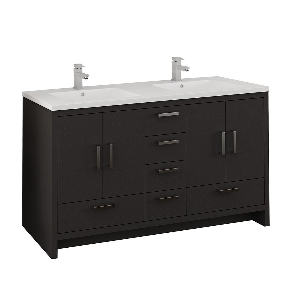 Imperia 60 in. Modern Bathroom Double Vanity in Dark Gray Oak with Vanity Top in White with White Basins