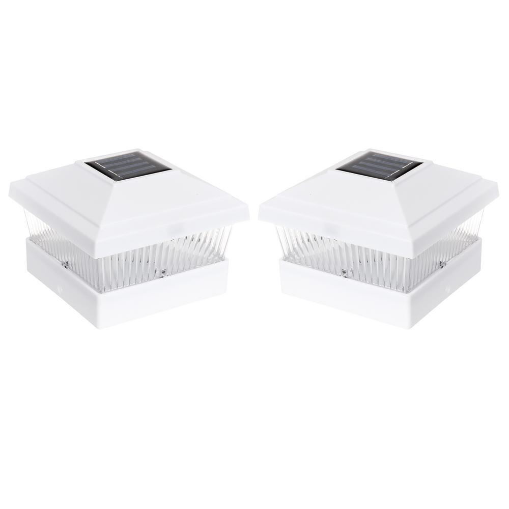 Solar Powered Outdoor Integrated LED White Fence Post Light (2-Pack)
