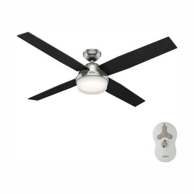 Dempsey 60 in. LED Indoor Brushed Nickel Ceiling Fan with Universal Handheld Remote Control and Light Kit