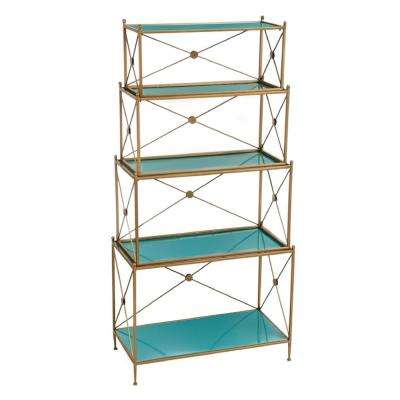 Teal and Antique Gold 4-Tiered Metal Display