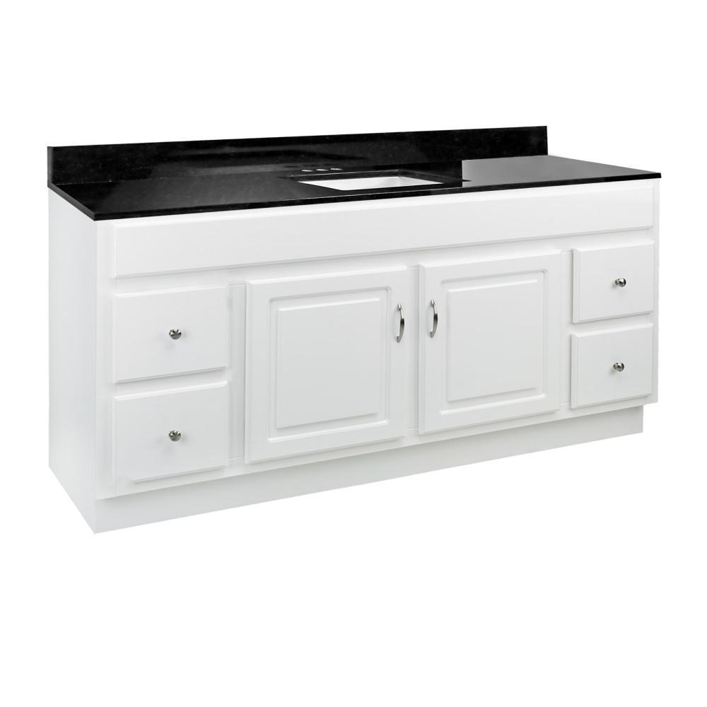 60 in. x 21 in. x 30 in. Bath Vanity in White w/ Black Pearl Granite Vanity Top w/ Rectangle Basin in White