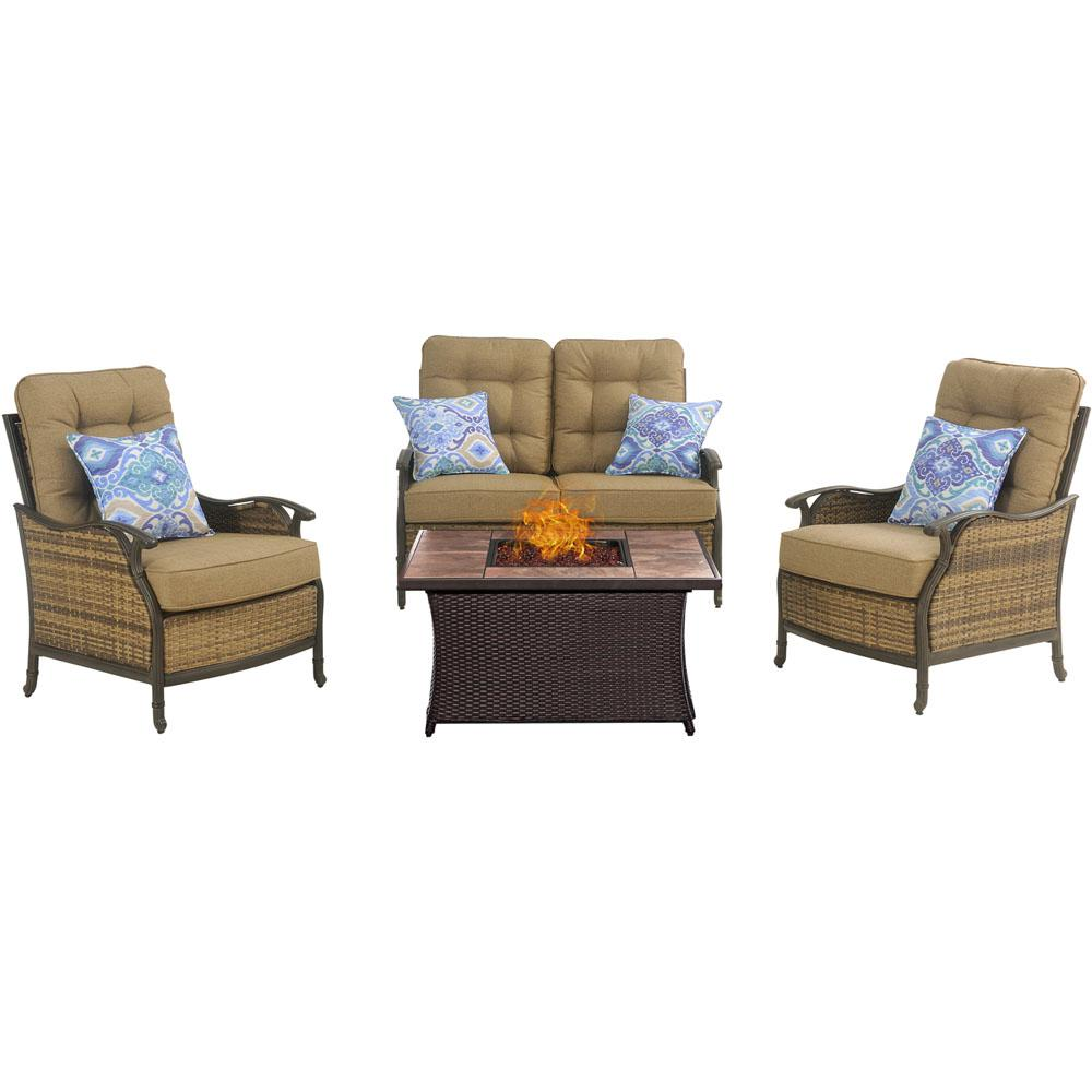 Hudson Square 4 Piece Patio Fire Pit Conversation Set With Tan Tile
