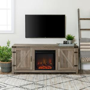 58 in. Grey Wash Barn Door Fireplace TV Stand
