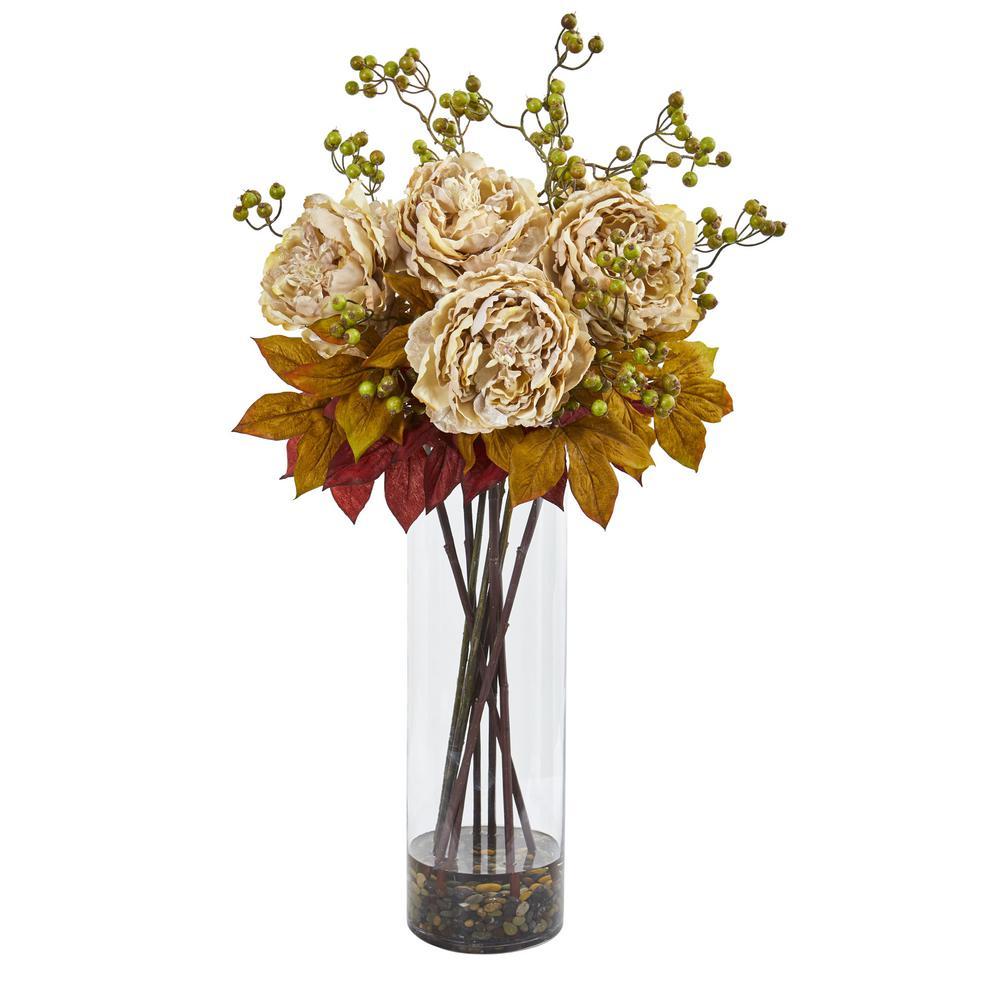 36 in. Indoor Peony and Berries Artificial Arrangement in Large Cylinder Vase