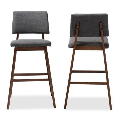 Colton 42 in. Gray and Walnut Bar Stool (Set of 2)