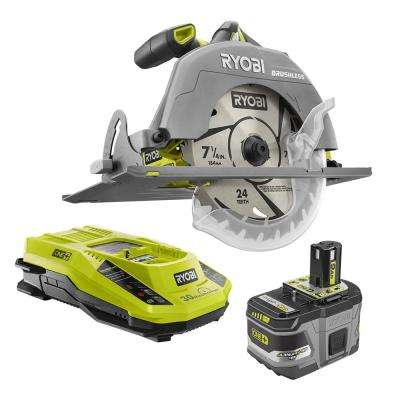 18-Volt ONE+ Lithium-Ion Cordless Brushless 7-1/4 in. Circular Saw Kit with 9.0 Ah Battery and 18-Volt Charger