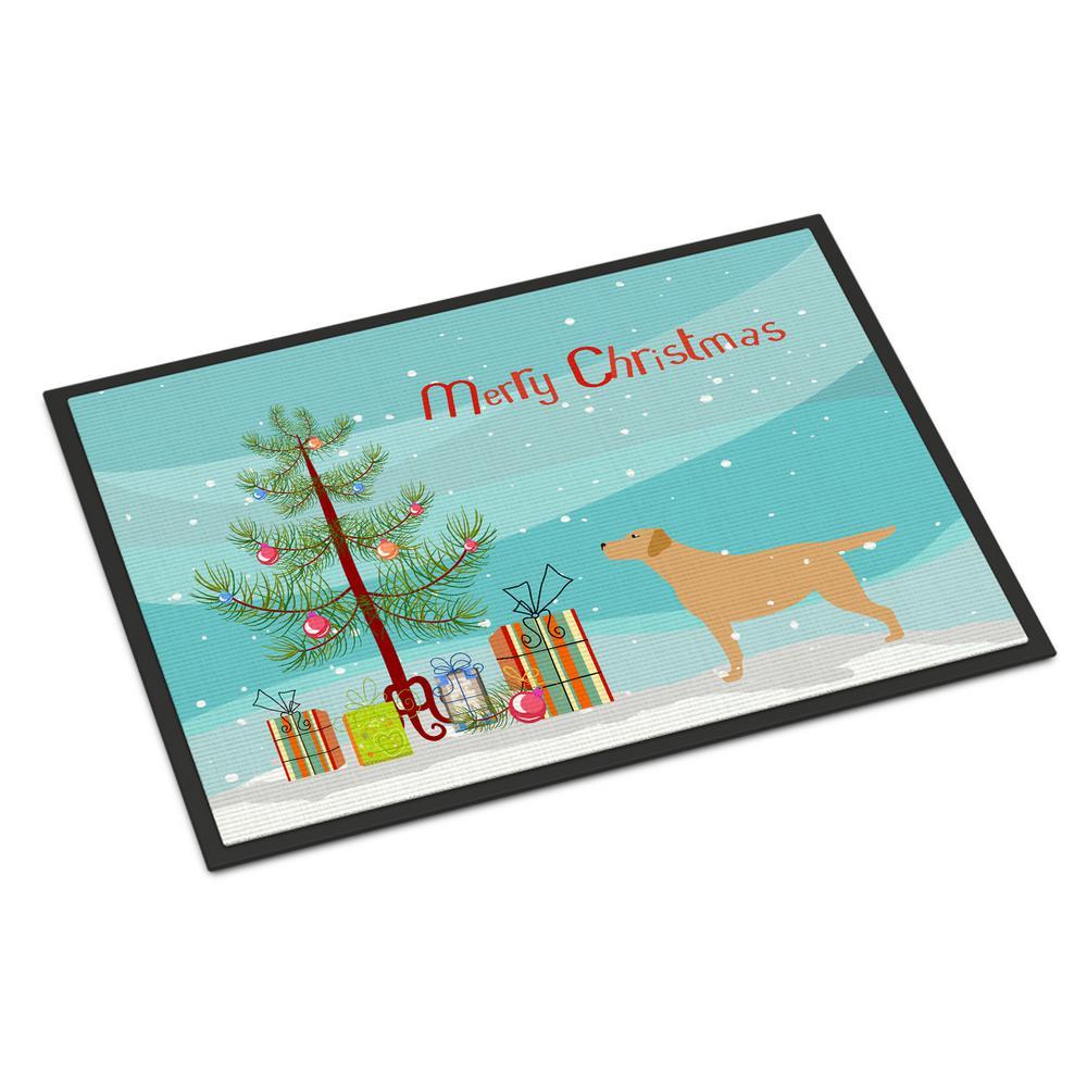 24 in. x 36 in. Indoor/Outdoor Yellow Labrador Retriever Merry Christmas Tree Door Mat