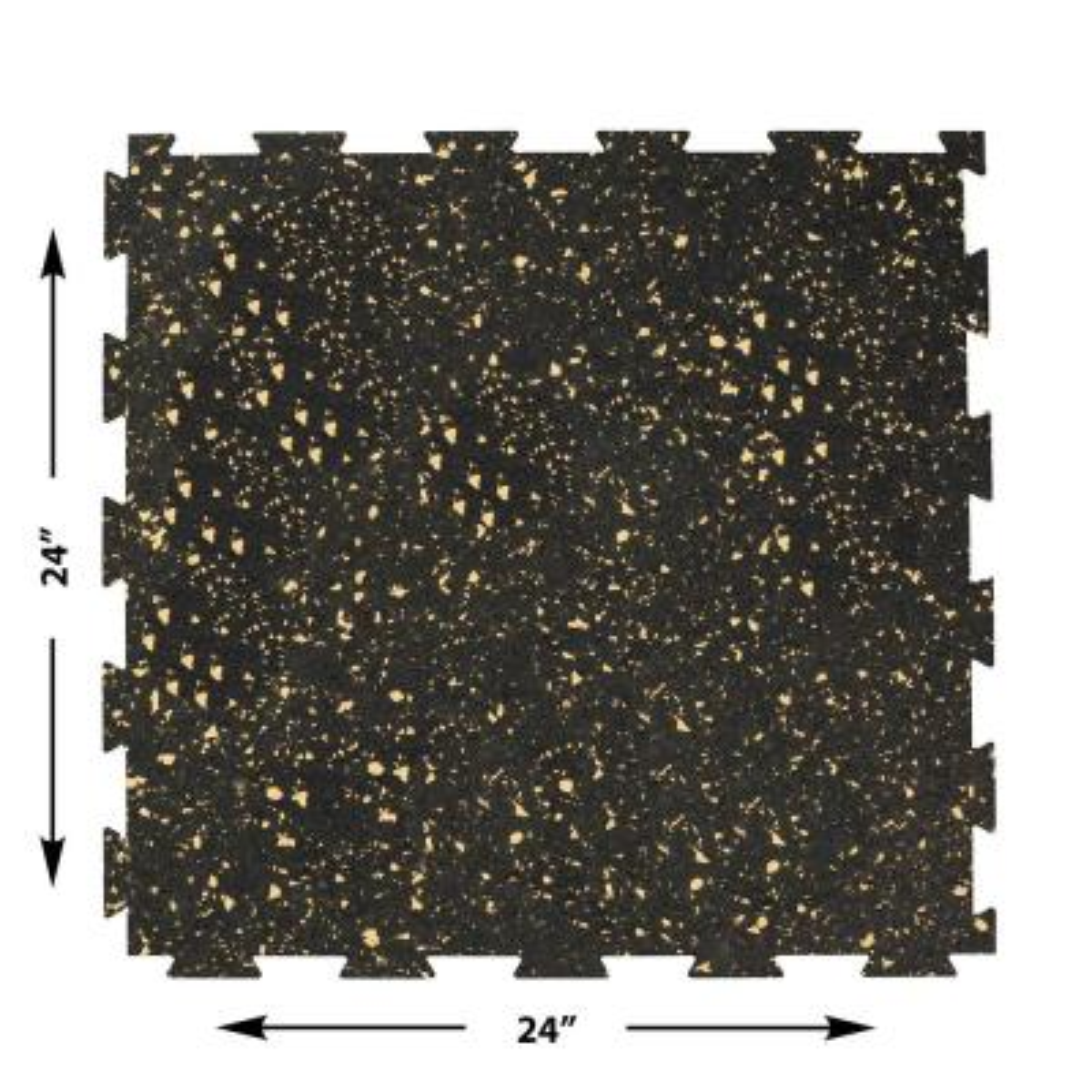 2 ft. W x 2 ft. L Black/Beige Interlocking Recycled Rubber Garage Flooring (24 sq. ft./Pack)