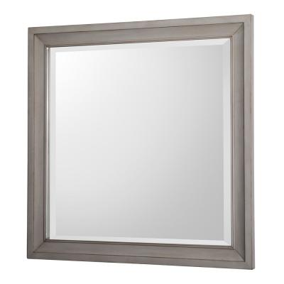 30 in. W x 30 in. H Framed Square  Bathroom Vanity Mirror in Antique Grey