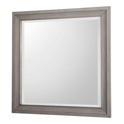 Hazelton 30 in. W x 30 in. H Single Square Wall Mirror in Antique Grey