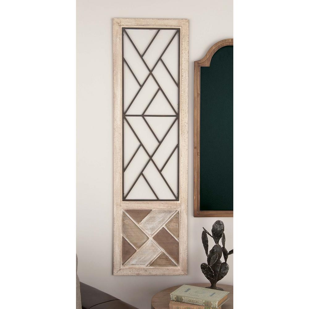 13 in. x 47 in. Modern Geometric Wood and Metal Wall