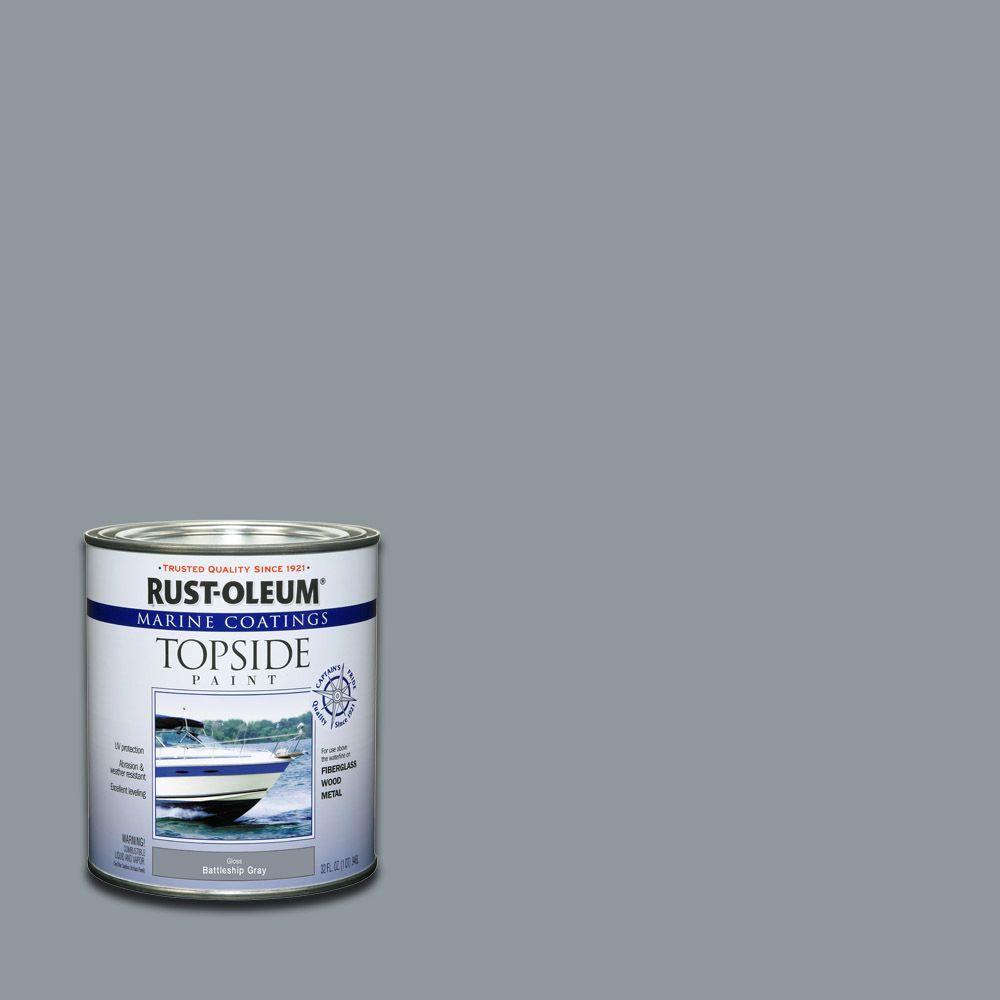 Rust-Oleum Marine 1 qt. Gloss Battleship Gray Topside Paint (Case of 4)