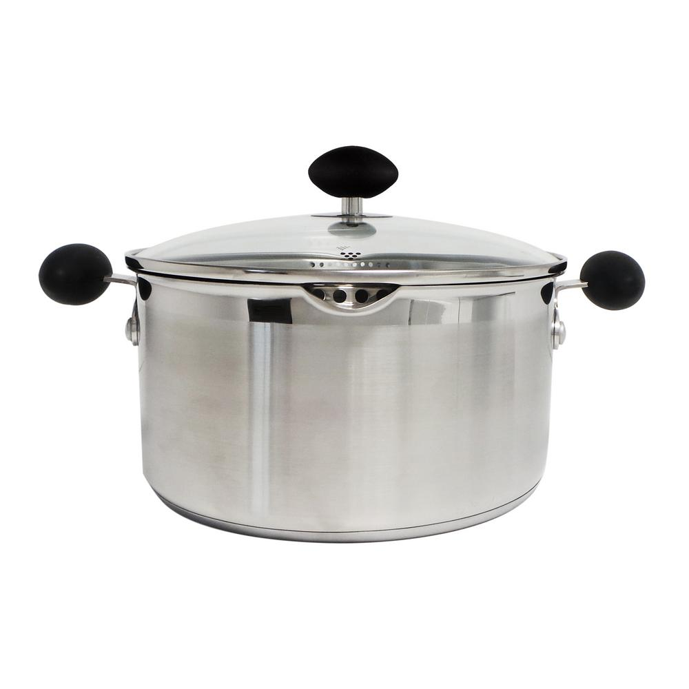 5 Qt. 2-Piece Stainless Steel Non-Stick Covered Stock Pot with Ergonomic