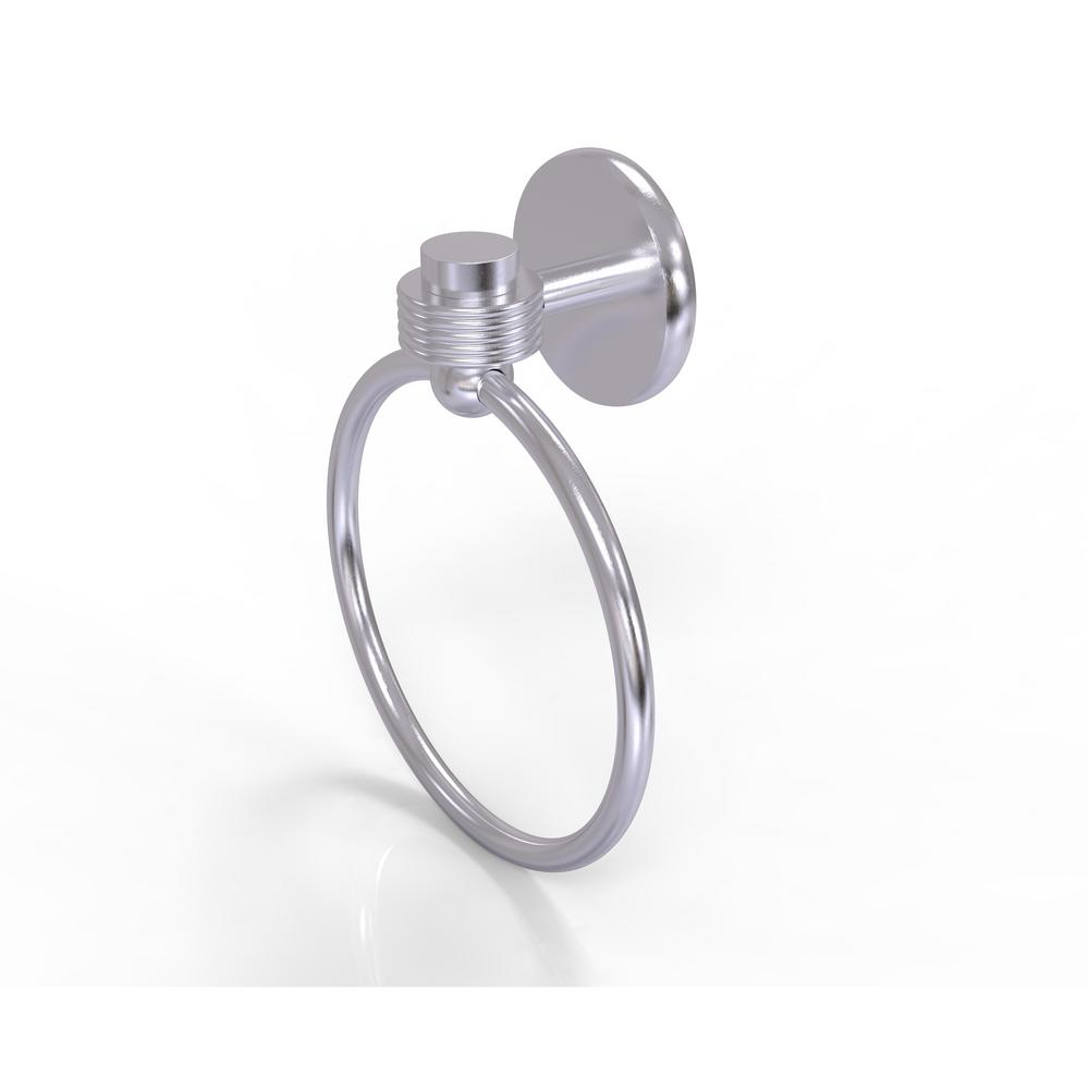 Allied Brass Satellite Orbit One Collection Towel Ring with Groovy Accent in Satin Chrome