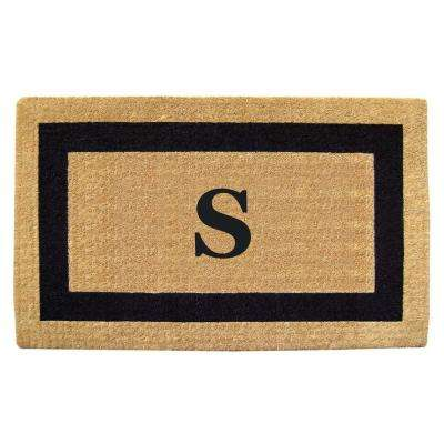 Single Picture Frame Black 22 in. x 36 in. HeavyDuty Coir Monogrammed S Door Mat