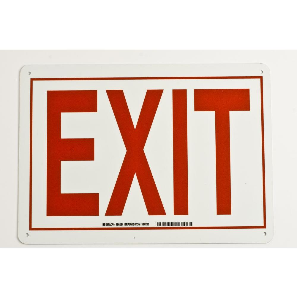 Brady 10 in. x 14 in. Glow-in-the-Dark Plastic Exit Sign