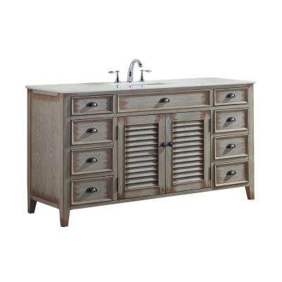 Palm Beach 60 in. W x 21.75 in. D Vanity in Distressed Beige with Marble Vanity Top in White with White Basin