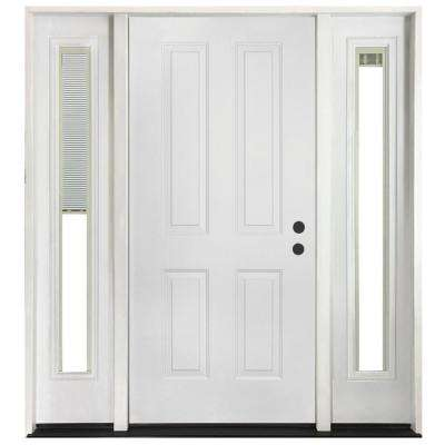 72 in. x 80 in. 4-Panel Primed White Left-Hand Steel Prehung Front Door with 16 in. Mini Blind Sidelites 4 in. Wall