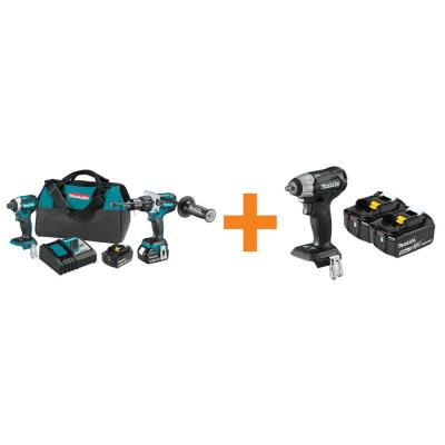 18-Volt LXT Brushless 2-Piece Combo Kit w/Bonus 18-Volt LXT 5.0 Ah Battery (2-Pack) and Brushless 3/8 in. Impact Wrench